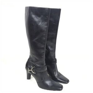 Anne Klein Shoes - Anne Klein Black Leather Tall Heeled Boot Size 8.5
